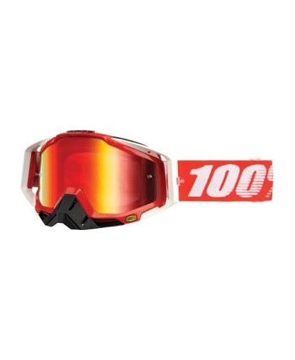 100% RACECRAFT GOGGLE FIRE RED MIRROR RED LENS