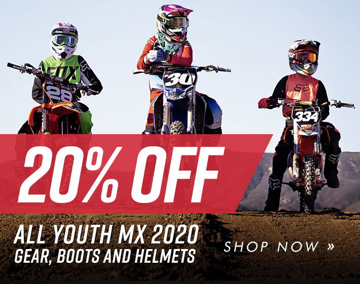 20% off youth mx 2020 gear, boots and helmets